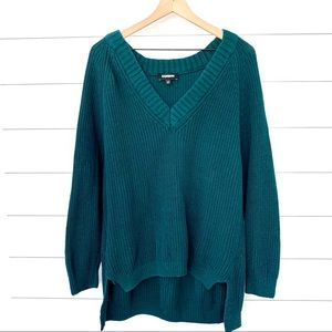 Express green oversized high low vneck sweater